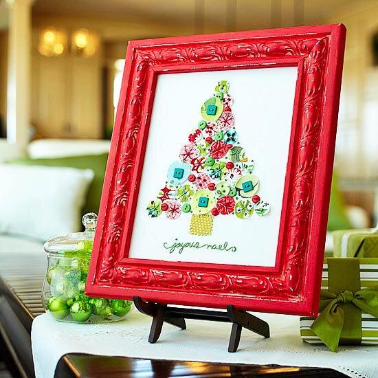 Новогодняя вышивка: елка из пуговиц