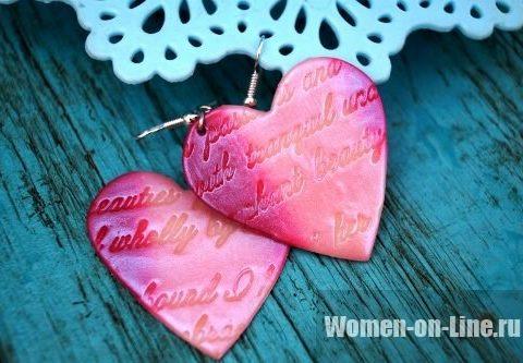 Романтические серьги «Любовные письма» из полимерной глины