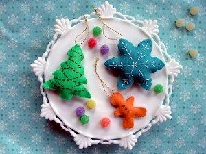 Мягкие игрушки из фетра на елку