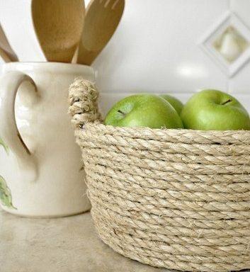 Плетение из веревки: корзина для фруктов