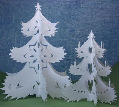 Оригинальные новогодние елочки из бумаги